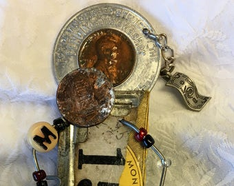 Coin Collector,Whats Your Story Steampunk Brooch,Grunge Art Pin,Wearable Art,Reclaimed Artwork,Recycled Art,Doll Brooch,Shelf Sitter, Boho