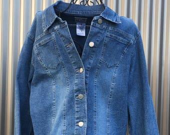 FDJ french dressing denim jacket,womans cut denim jacket,made in canada,previously owned jacket,shabby chic,western wear,feminine cut,boho