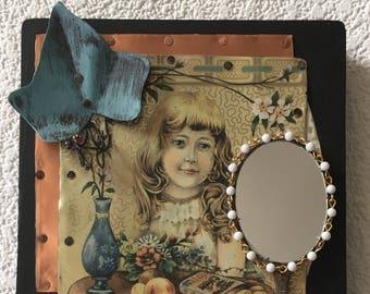Adolescent girl copper collage mirror,powder room,recycled assemblage,wall art,daughter,bedroom decor,feminine mystic, Victorian Era mirror