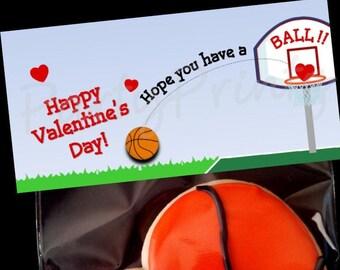 Basketball Slam DUNK FavorDessert Bag Labels Candy Bar Birthday