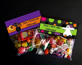 INSTANT DOWNLOAD - Printable Halloween Treat Bag Toppers