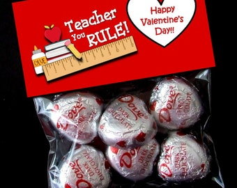INSTANT DOWNLOAD - Printable Valentine Treat Bag Toppers  -  Valentine's Day - Teachers Rule