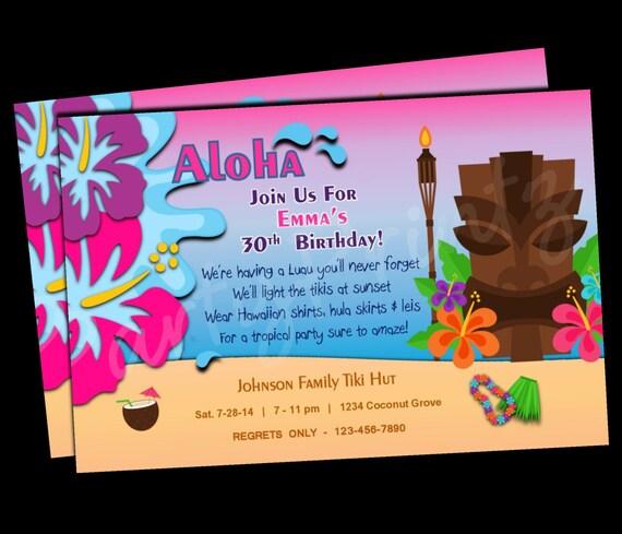 Printable Hawaiian Luau Party Invitations