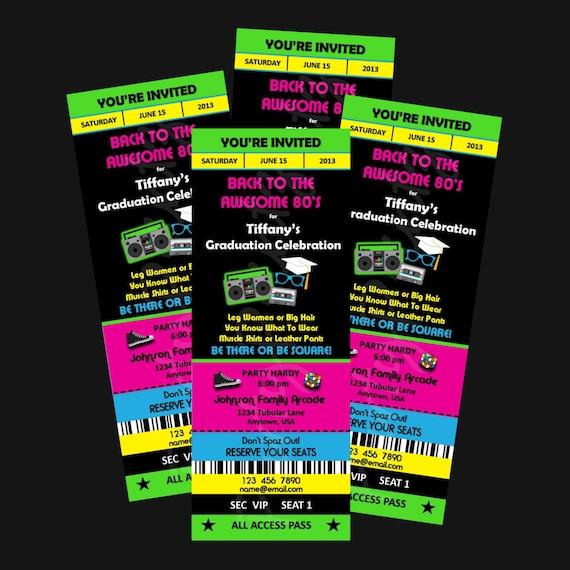 Printable 80s graduation party ticket invitations custom il570xn filmwisefo