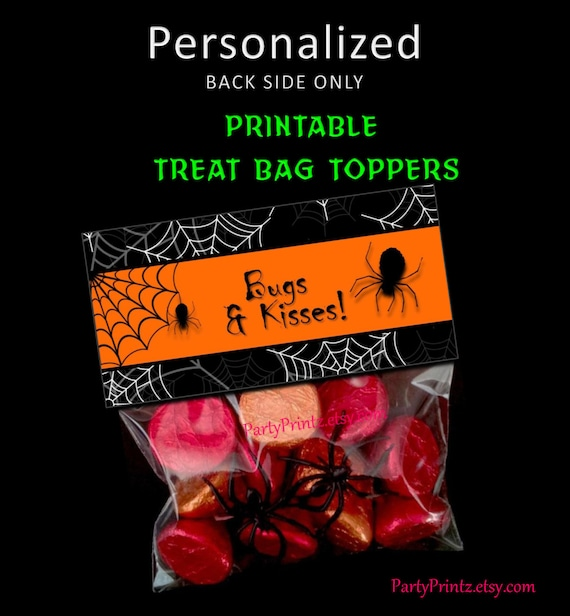 graphic relating to Bugs and Kisses Printable titled Printable - Insects Kisses - Halloween Handle Bag Toppers by way of