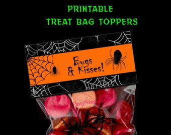 INSTANT DOWNLOAD - Printable - Bugs & Kisses - Halloween Treat Bag Toppers