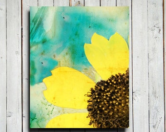 Colorful - Yellow and Blue decor - Yellow Flower abstract art - Yellow and Blue art - Aqua blue - Aqua blue art - Daisy flower decor