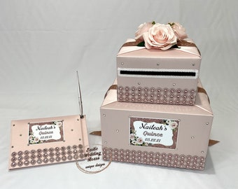 Pearl and Lace accents-any colors Blush PinkIvoryMint Card Box