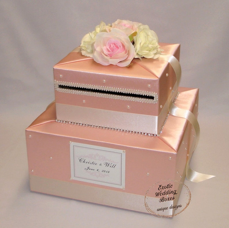 Shabby Chic theme Peach/Ivory/Pale Pink Wedding Card box image 0