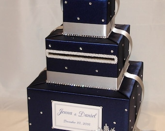 Navy Blue and Silver Winter/Snowflake theme Wedding Card Box/Card Holder