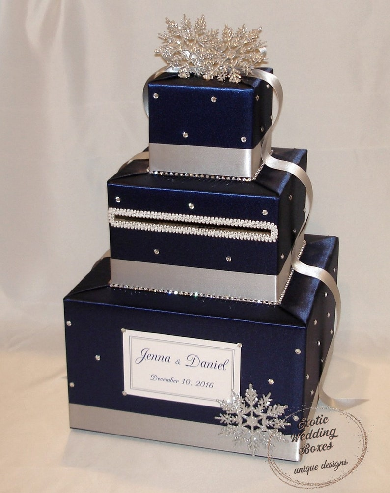 Navy Blue and Silver Winter/Snowflake theme Wedding Card image 0