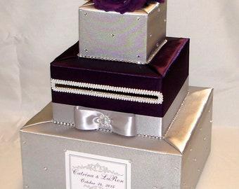 Silver and Eggplant Wedding Card Box -rhinestones-flowers