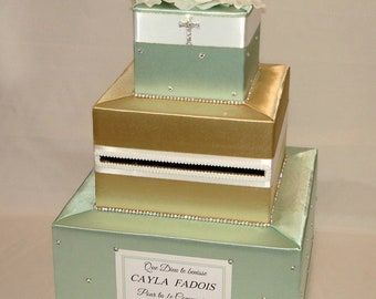 Mint Green, White and Gold Baptism/Christening/Holy Communion Card Box with Rhinestone Cross and Flower Topper