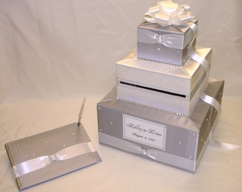 Elegant Custom Made Wedding Card Box-Guest Book/Pen set -rhinestone accents-any color combination