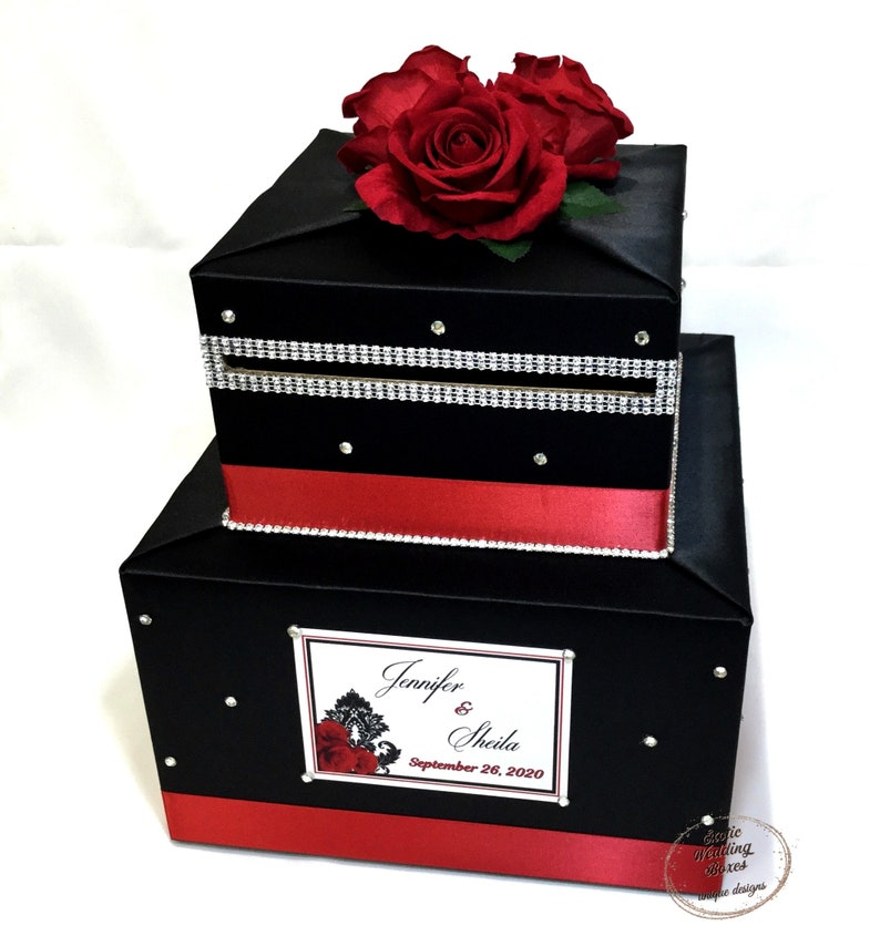 Black and Red Card Box Red Roses Rhinestone accents image 1