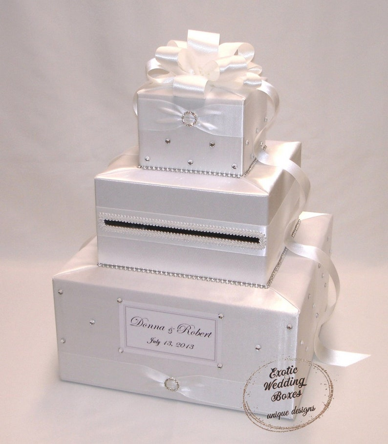 White Wedding Card Box Rhinestone accents image 0
