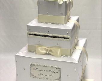 White and Ivory card Box- Rhinestones, White silk flowers