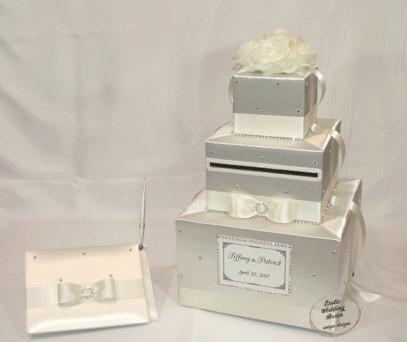 All Ivory/Cream  Wedding Card Box and Guest book image 0