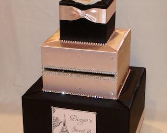 Black and Blush Pink Card Box -Rhinestone accents