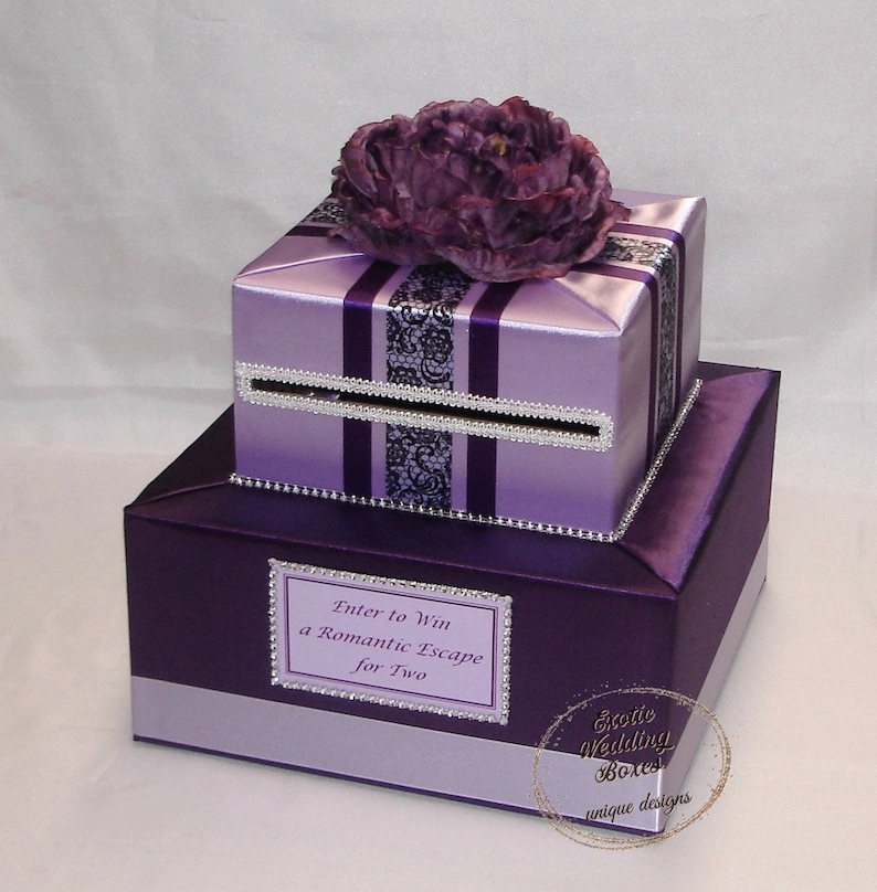 Elegant Custom Made Wedding Card Box-Eggplant-Lavender any image 0