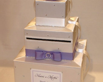 White and Lavender Winter theme Card Box-Rhinestone accents