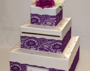 Elegant Custom made Ivory/Plum lace Wedding Card Box-rhinestones-any colors
