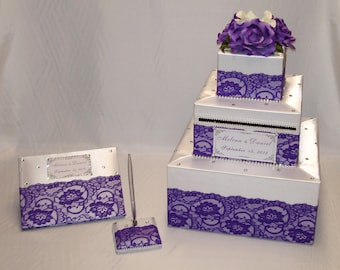 Elegant Custom made Wedding Card Box Lace design-any colors