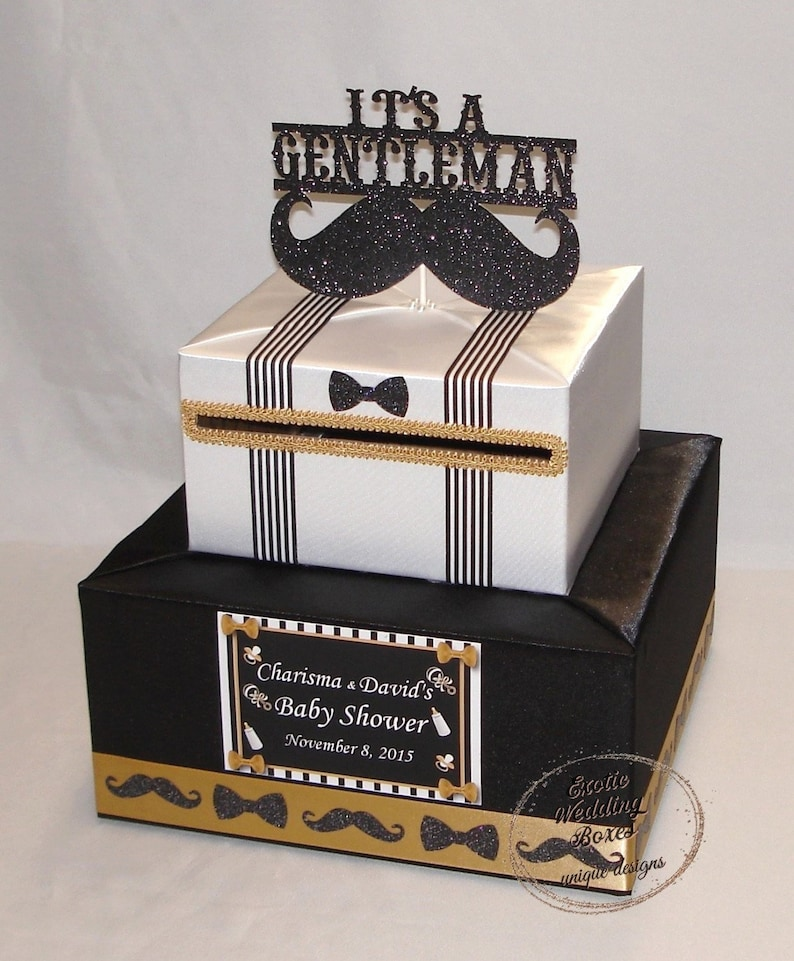 Little Gentleman Mustache Theme Baby Shower Birthday Card Box Any Color