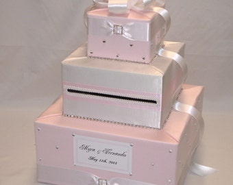 Pale Pink/Light Pink and White Wedding Card Box-any color combination