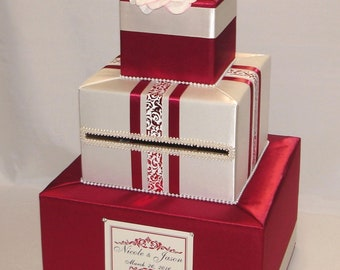 Red and Cream/Ivory Card Box-Flower accents-any color can be made