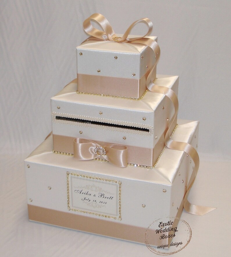 Elegant Custom made Ivory/Champagne Wedding Card Box Gold image 0