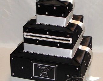 BLACK and WHITE Card Box- crystal accents