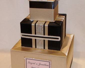 Black and Gold Card box with Blush Pink Flowers-Rhinestone accents