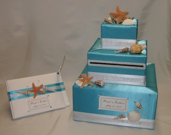Beach theme Wedding Card Box with Matching Guest book and Pen-any color combination