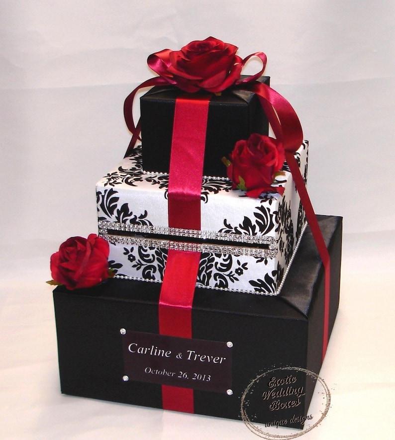 Elegant Custom made Wedding Card Box-damask design-Red image 0