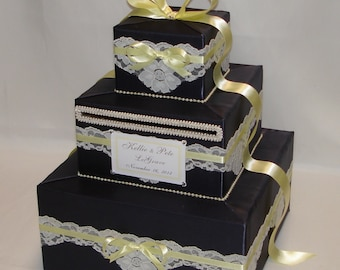 Charcoal Wedding Card Box-White lace and Yellow accents-any colors