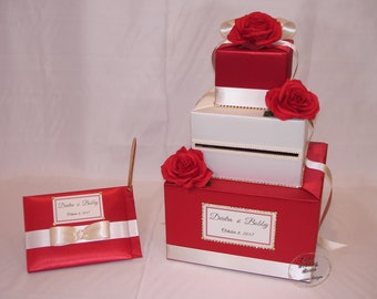 Red and Ivory Card Box and matching Guest Book-Red Roses