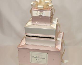 Elegant Custom Made Wedding Card Box-Blush pink-Ivory(any color combination)