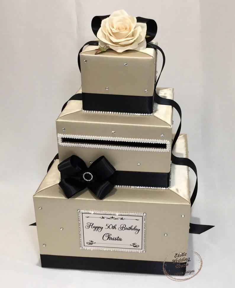 Champagne and  Black Wedding Card Box-Rhinestone accents image 0