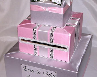 Silver-Pink Wedding Card Box-any color combination