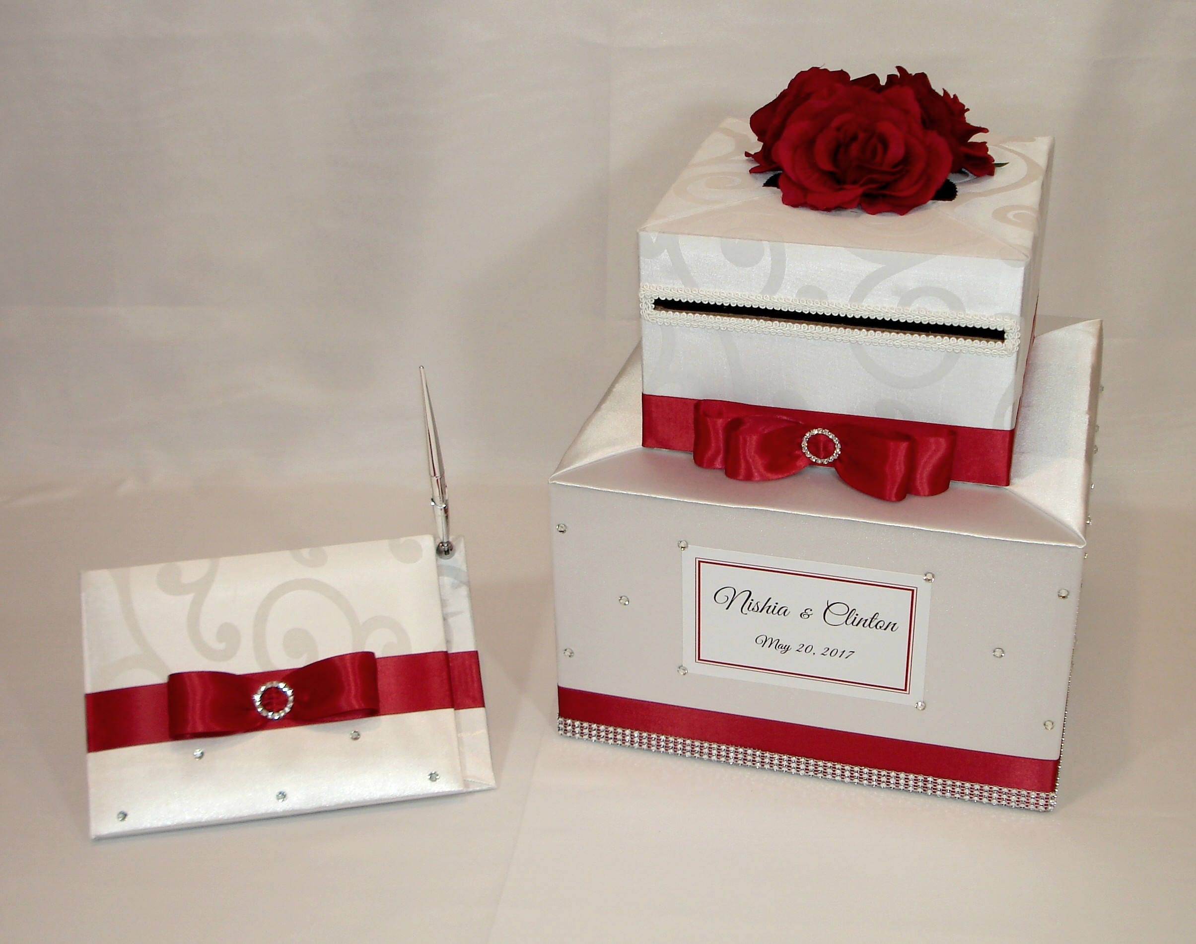 White and Red Wedding Card Box and matching Guest Book with | Etsy