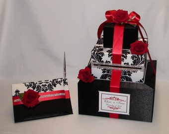 Black and White Damask with Red Roses Wedding Card Box and matching Guest Book/Pen