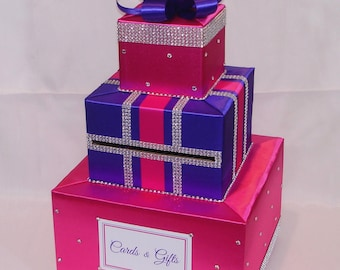 Fuchsia and Purpe Card Box with LOTS of BLING