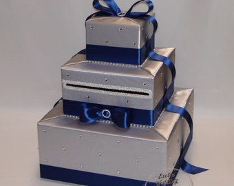 Silver and Navy Blue Card Box-Rhinestone accents