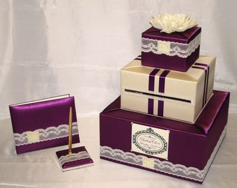 Victorian Wedding Card Box-Guest Book/Pen set -any color combination