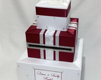 White and Burgundy Winter theme Wedding Card Box-Snowflakes-Rhinestones