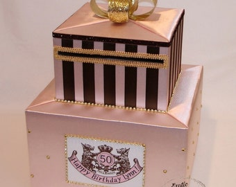 Blush Pink and Brown Card Box with Gold accents