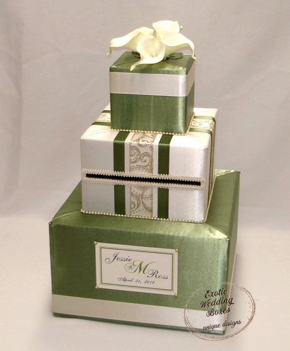 Olive Green Sage And Ivory Wedding Card Box Gold Etsy