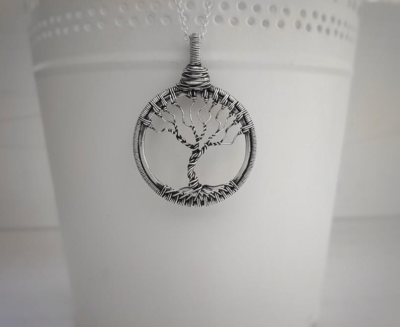 Christmas gift for her wire wrapped seasonal winter tree Tree of Life necklace in Sterling silver