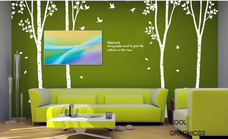 103 inches Mural,Wall Hanging Four Birch Trees set Vinyl Wall Decal Sticker Art
